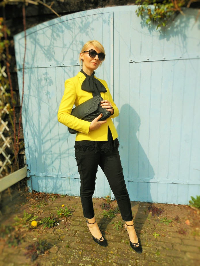 black lace top, yellow blazer, yellow coat fashion