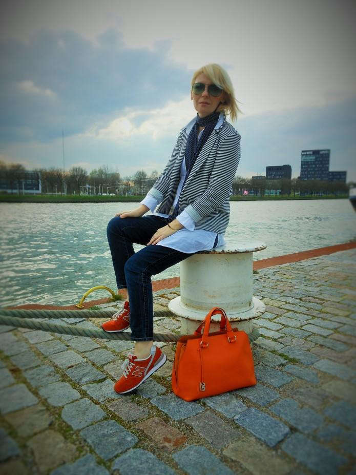 bretonse streep, oranje tas, fashion blog