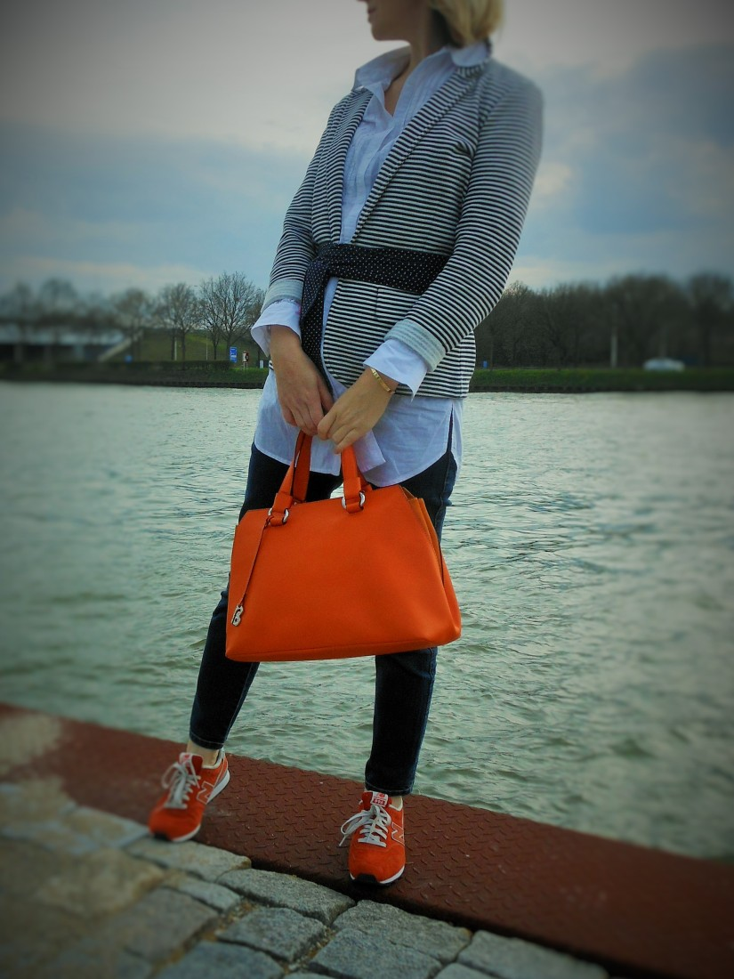 orange bag, francesco biasia bag, fashion blog