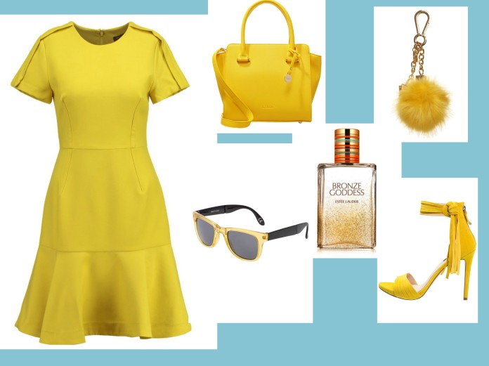yellow accessoires, yellow dress