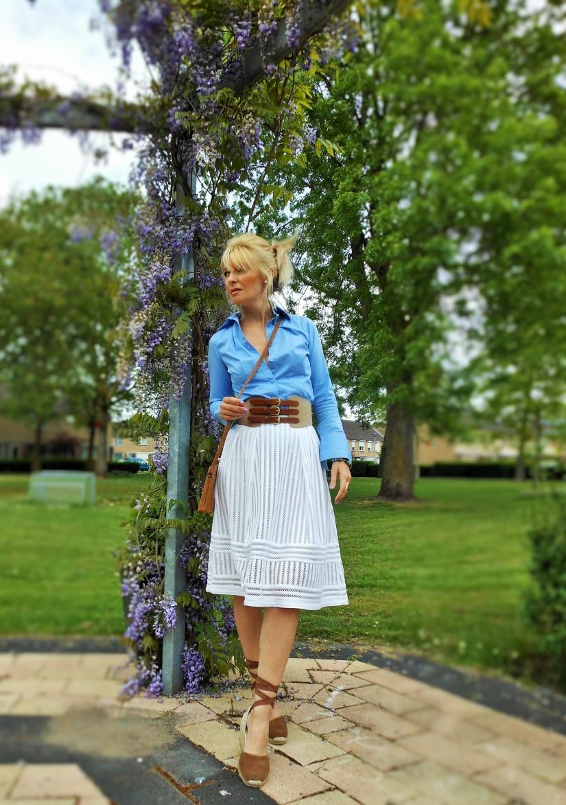 white lace midi skirt blogger