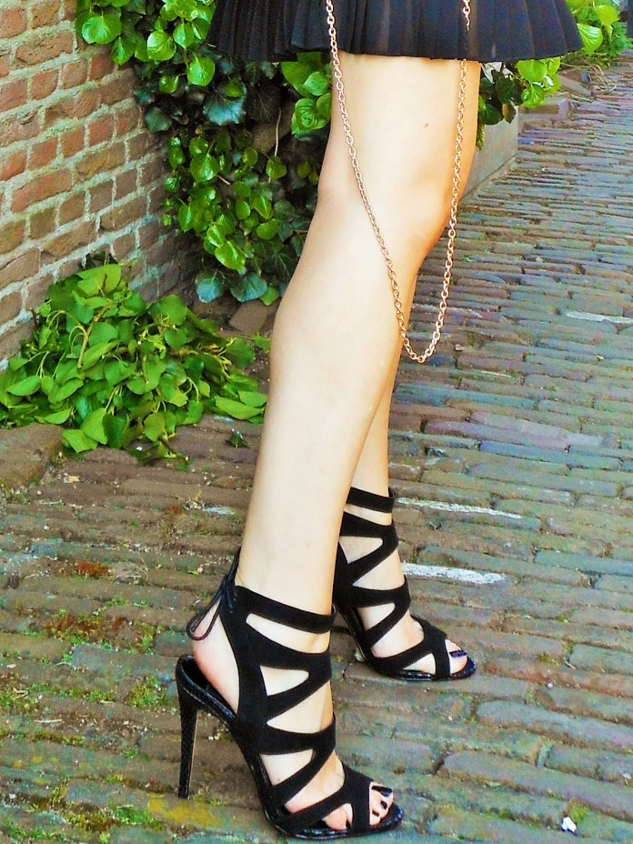 black sandals high heels