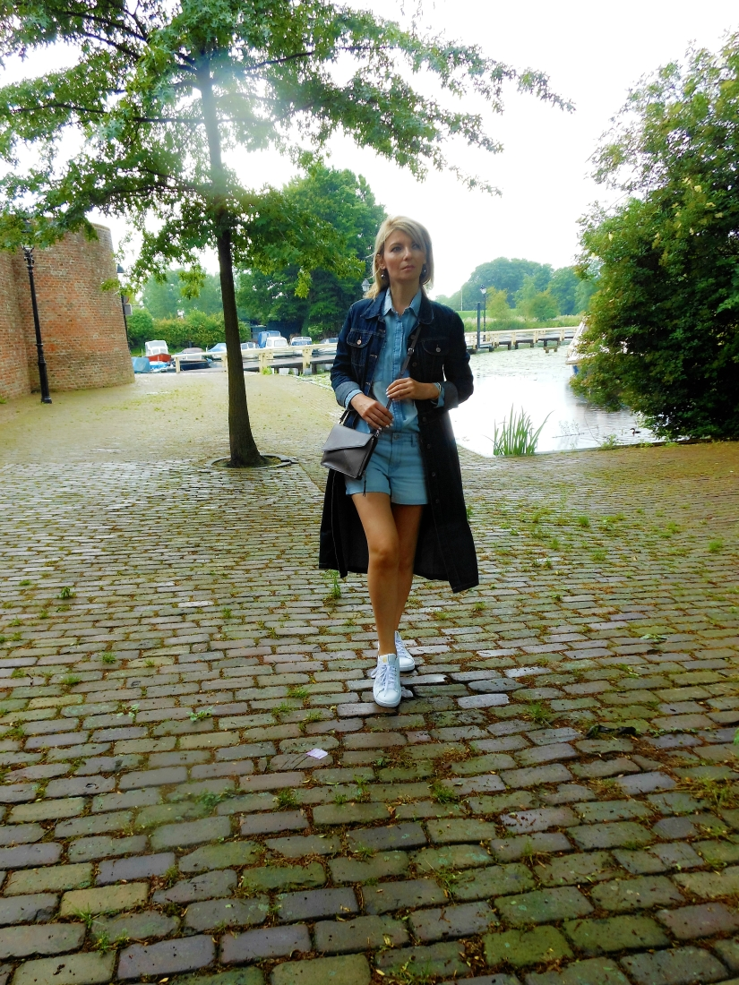 denim long coat blogger