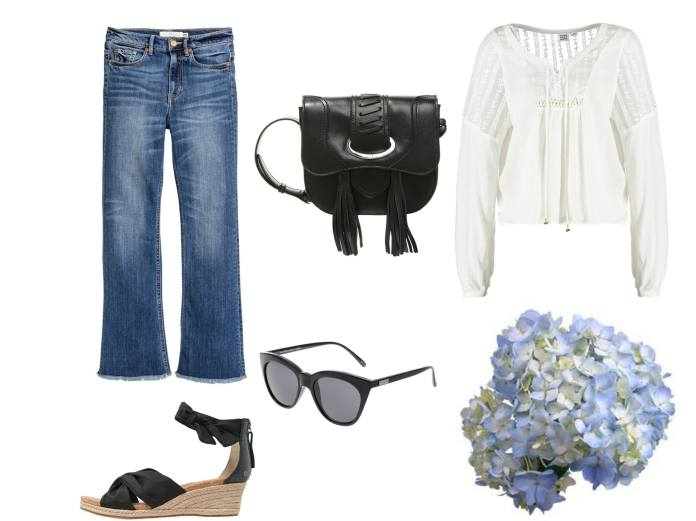 bohemian look cropped jeans