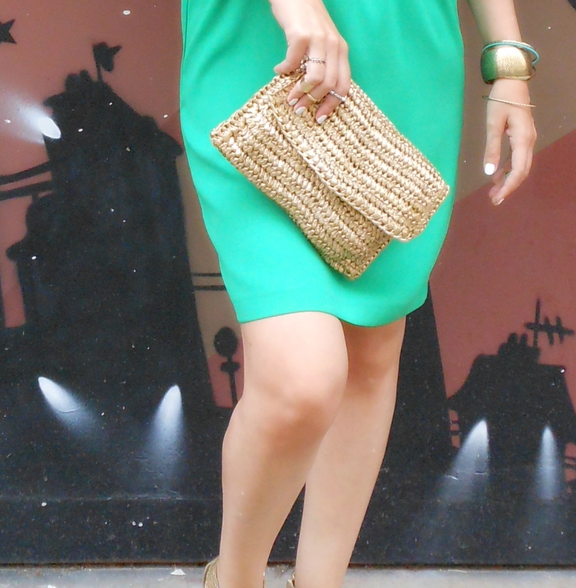 gold clutch h&m, straw clutch h&m, straw bag h&m