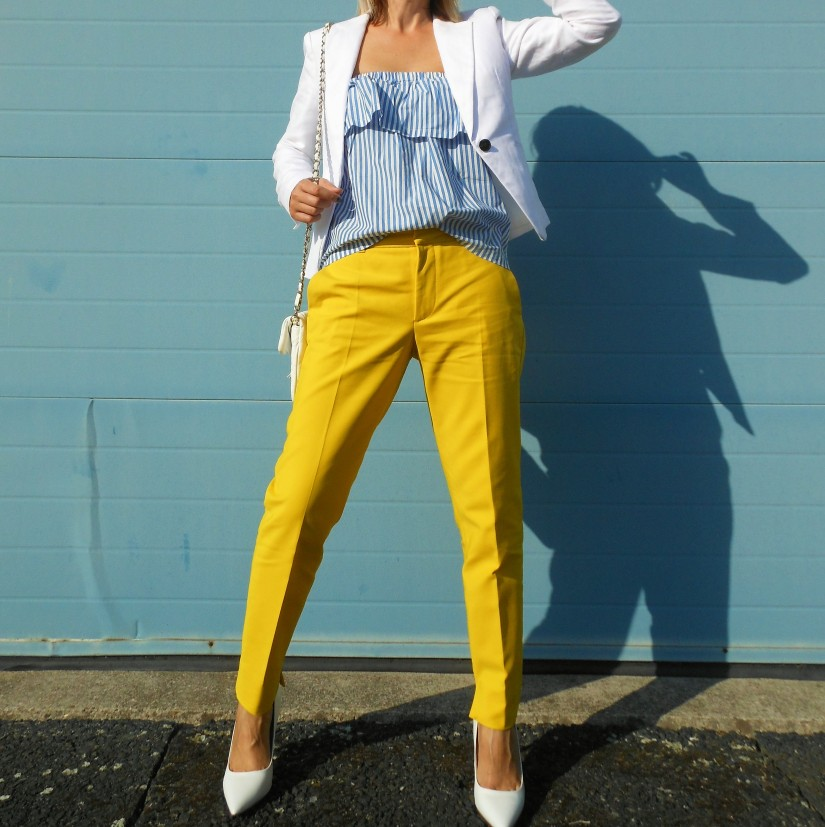 Zara yellow pants blogger, Zara yellow pants