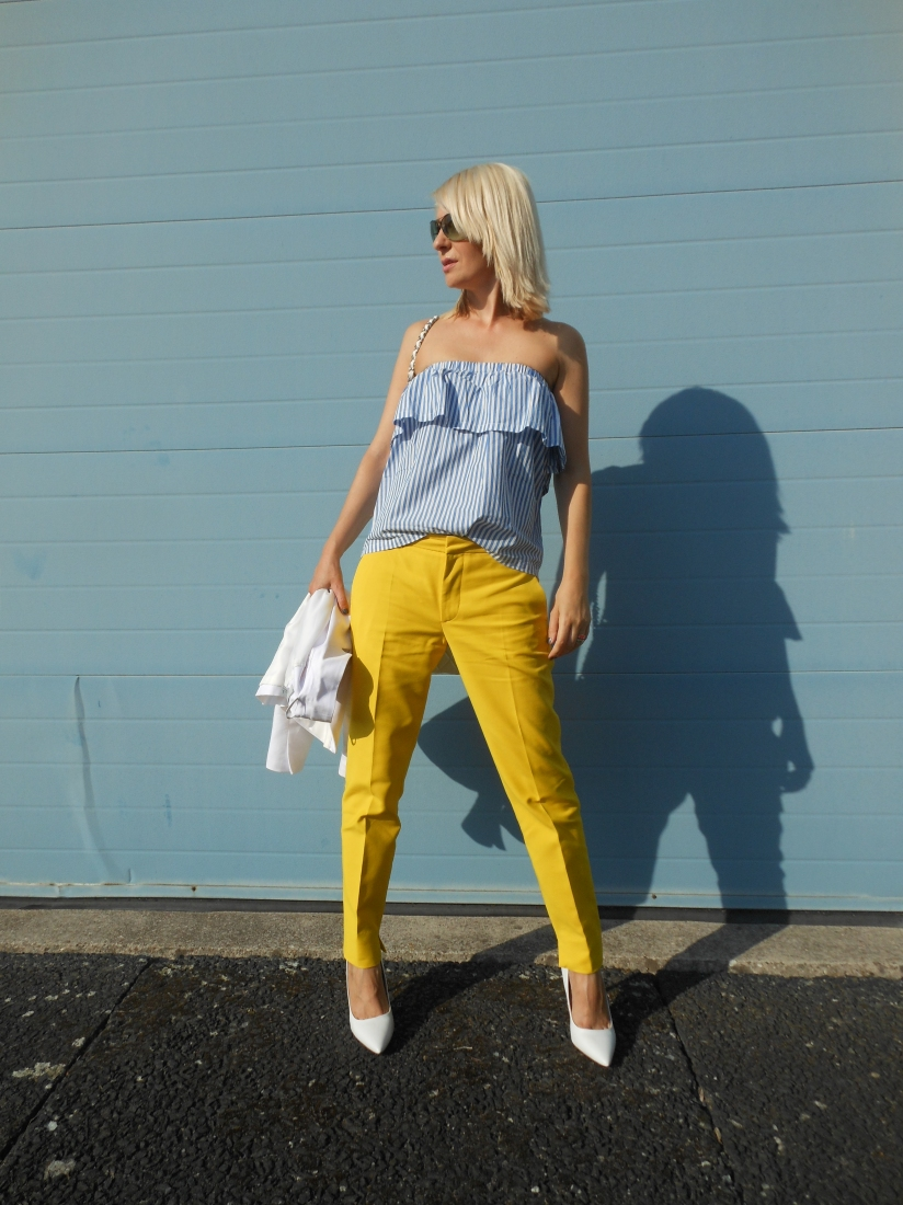 off-the-shoulder top blogger, off-the-shoulder ruffle top h&m