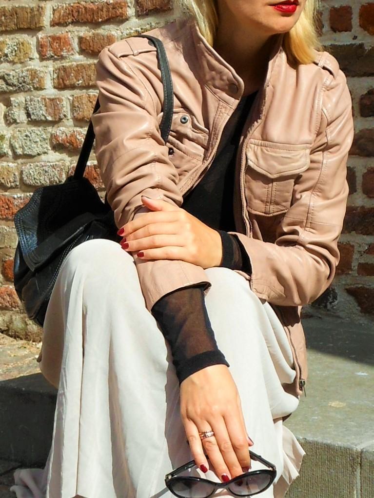Esprit leather jachet beige, Esprit leather jacket blogger