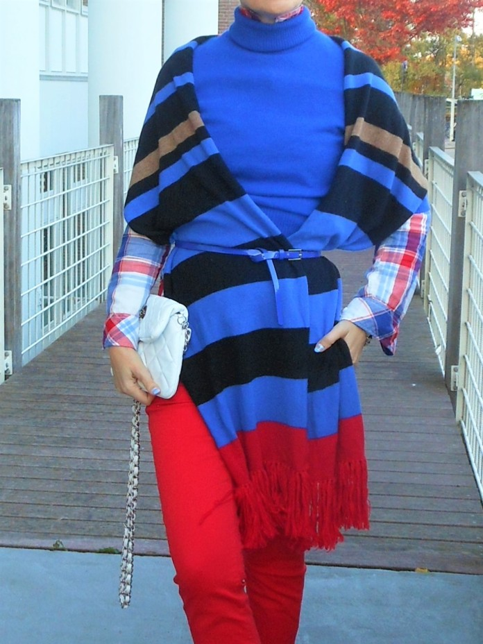 color block fashion, how to wear color block, red and blue fashion, how to wear red, how to wear red and blue
