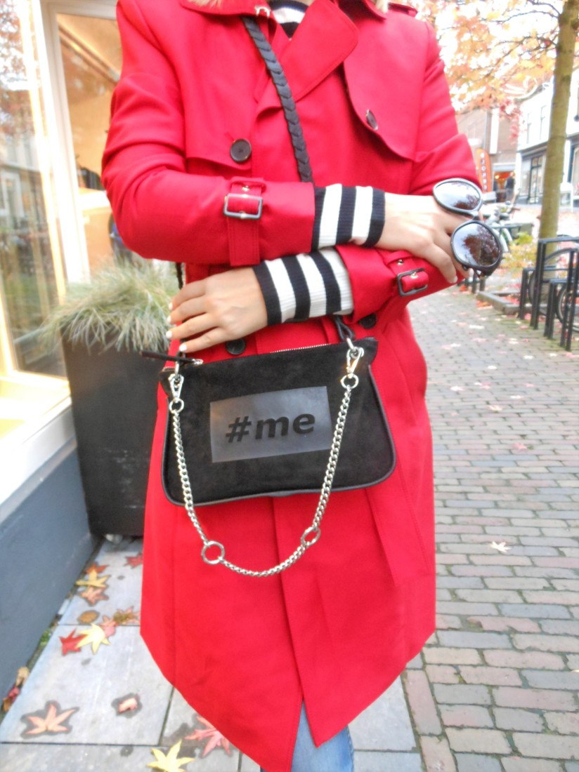 Zara red trench coat, Zara #me bag, Zara fashion blogger