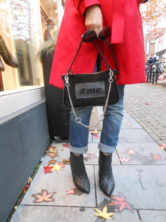 Banana Republic ankle boots blogger, Zara red trench coat, Zara #me bag, Zara fashion blogger